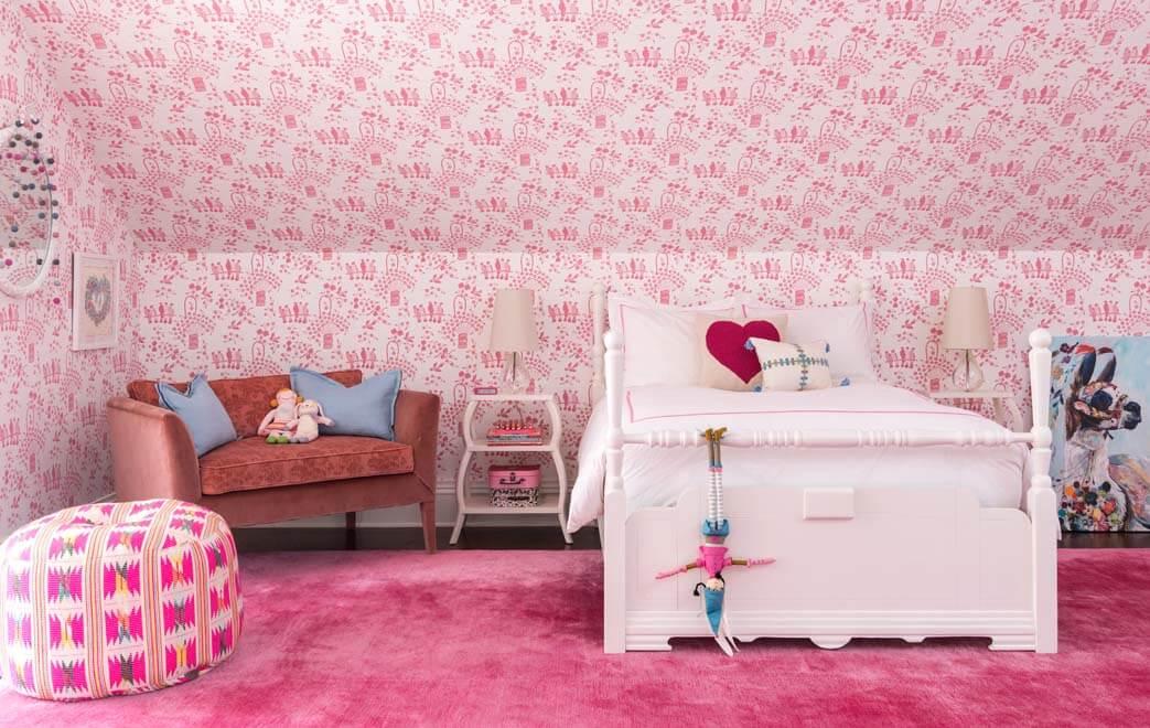 Painted Brick Georgian Home Girls Bedroom