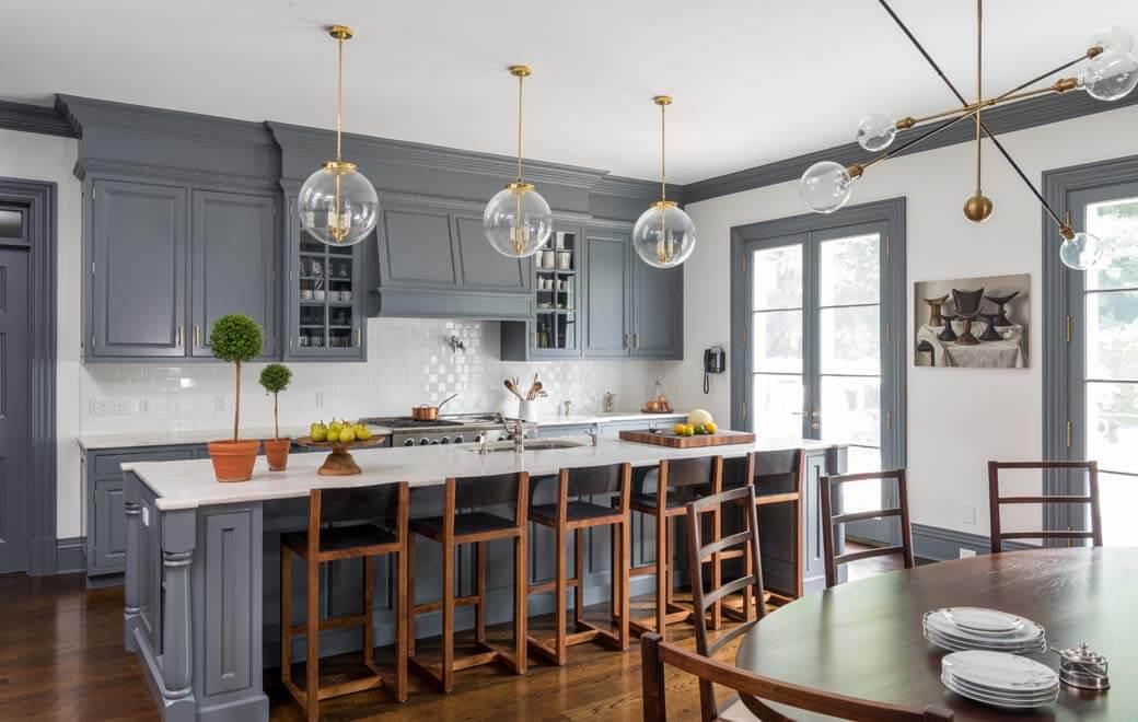 Painted Brick Georgian Home Modern Traditional Kitchen
