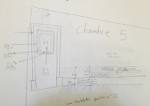 Painting plans for Chambre 5 showing specific color details for each wall