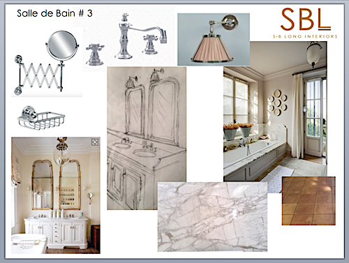 S B Long Interiors Bathroom mood board.