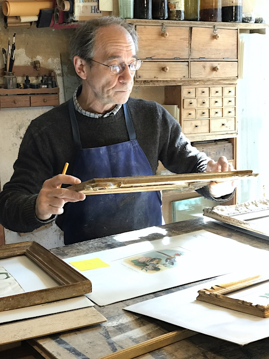 The Provence framer working to frame our Paris Flea Market finds.