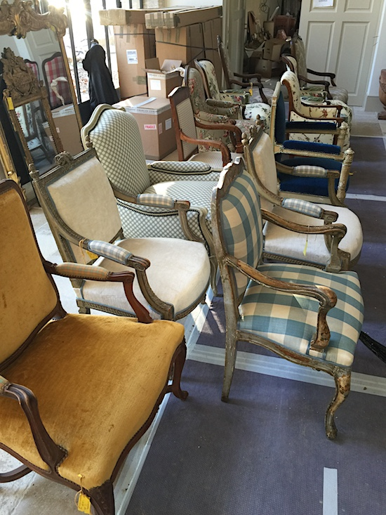 Move in day in Provence: delivery of all the newly re-upholstered chairs throughout the house