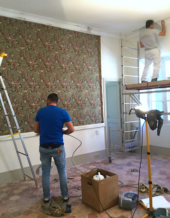 Installation of the upholstered bed wall in Bedroom 6