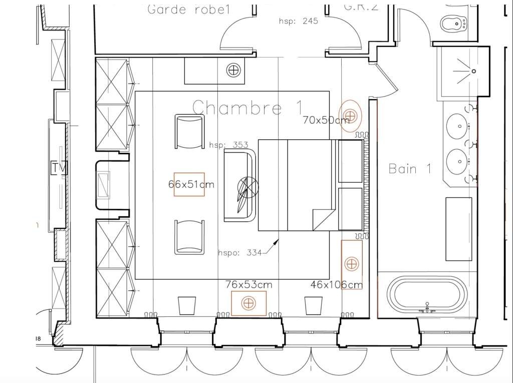 furniture plan in centimeters by S B Long Interiors