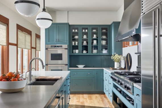Modern traditional kitchen with blue cabinetry