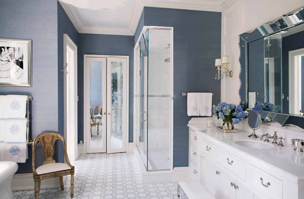 blue and white master bath