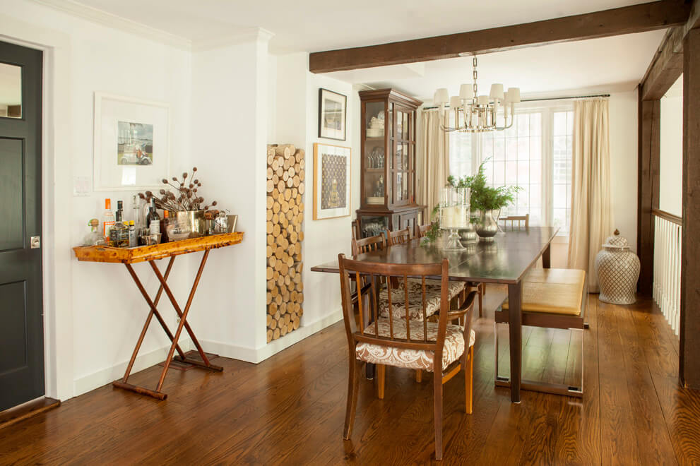 farmhouse dining room with beams