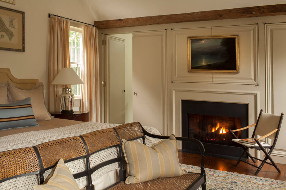 country master bedroom fireplace