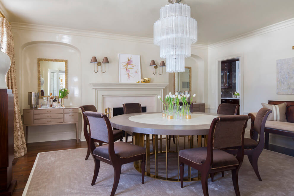 modern dining room with round table