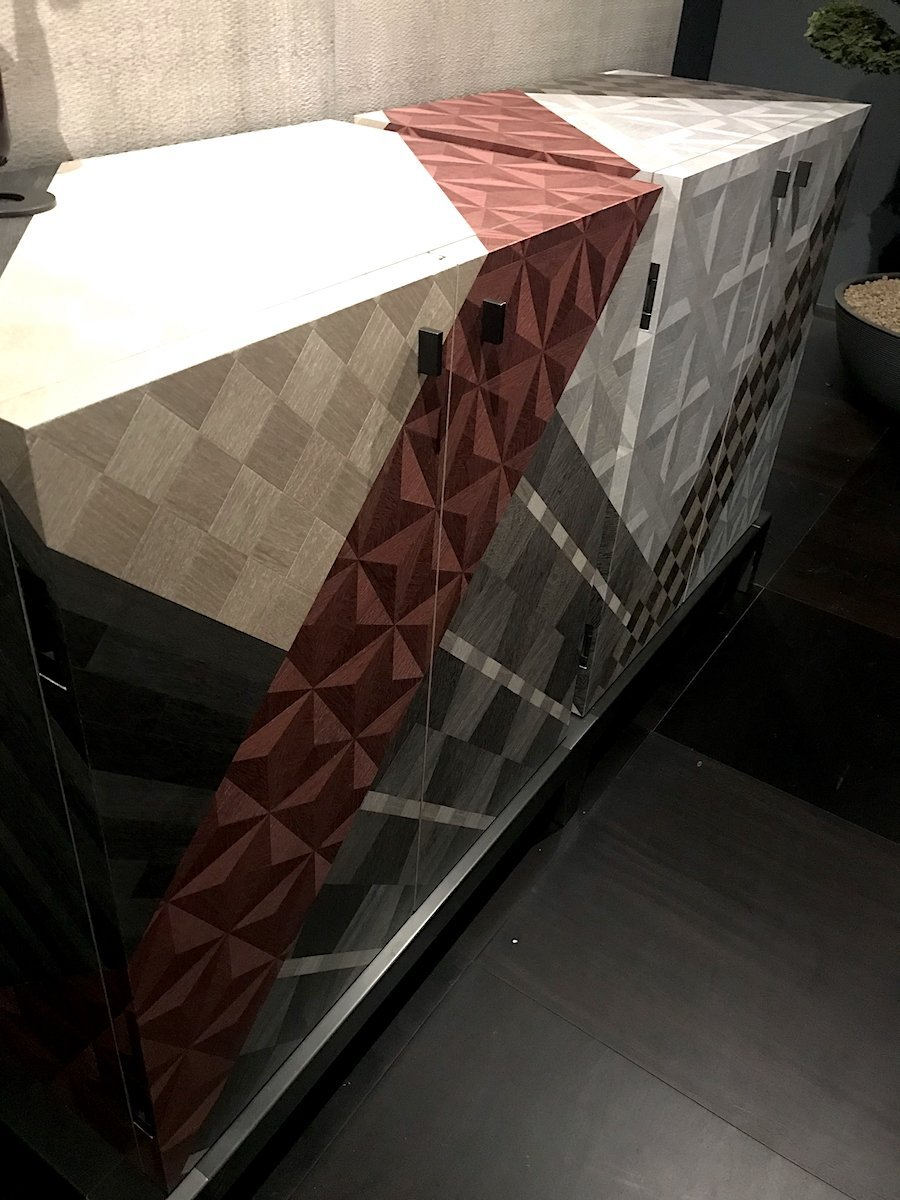 Promemoria's Amarcord chest in modern marquetry wood veneer