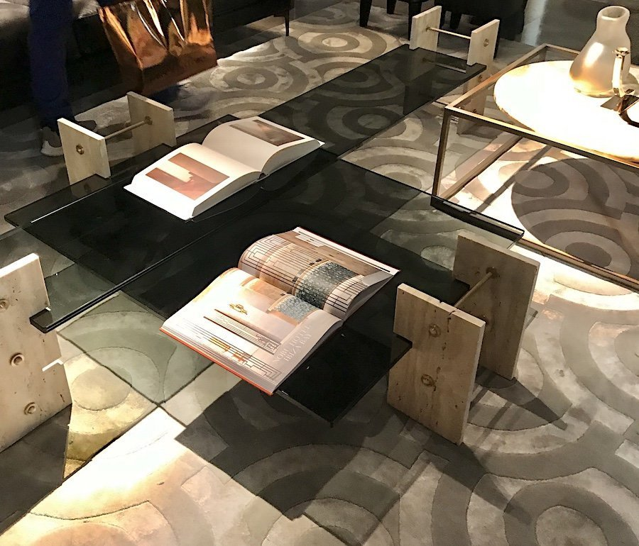 Gianfranco Ferre Home travertine and smoked glass coffee tables