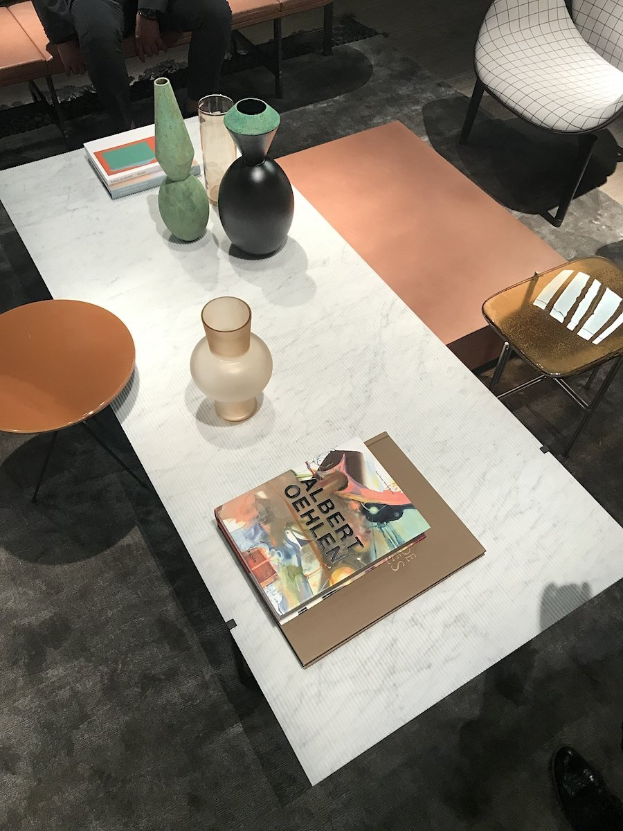 Baxter furniture Icaro table in bianco gioio marble from Salone del mobile 2019