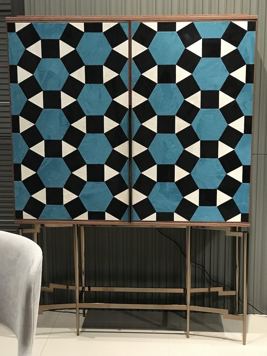 Modern suede marquetry cabinet by Mobi