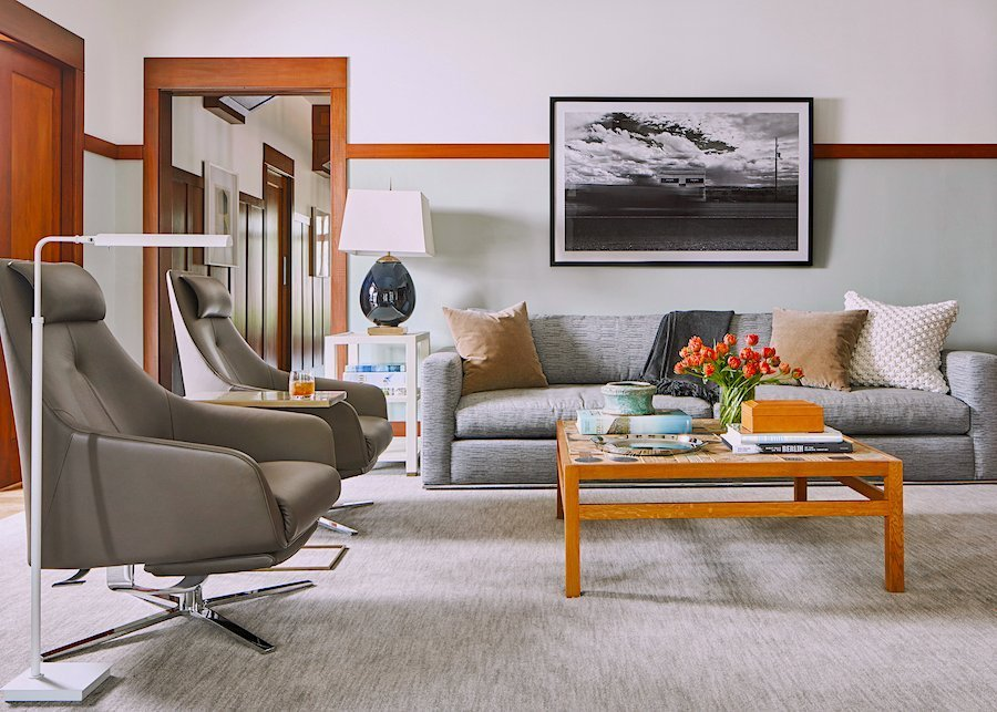 Modern media room with recliner chairs